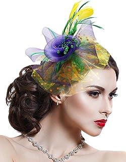Hotvivid Fascinator for Women Tea Party Wedding Headband Mesh Feather Flower Hair Clip