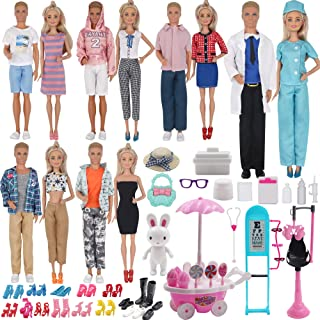 EuTengHao 90Pcs Doll Clothes and Accessories for 11.5'' Girl Doll and 12'' Boy Doll Doctor Nurse Playset Includes 25 Cloth...
