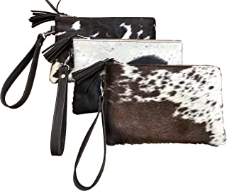 Deluxe Decor Real Cowhide Wristlet Clutch Purse Wallet Handbag Tricolor Black Leather Lined Double Sided 8.5
