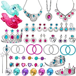 WATINC Princess Pretend Jewelry Toy Girl's Jewelry Dress Up Play Set Included Necklaces Earrings Adjustable Diamond Rings Crowns Wands Bracelets for Little Girls Simulation Toy B-princess Jewelry Toy-58 Pack