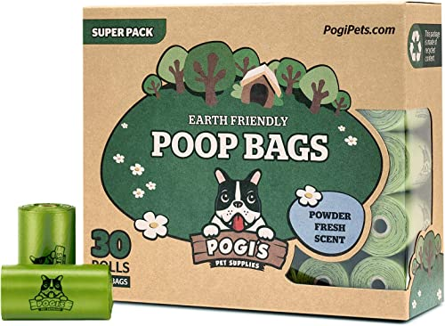 Pogi's Poop Bags - 30 Rolls (450 Bags) - Biodegradable, Scented, Leak-Proof Dog Waste Bags