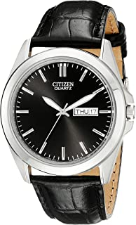 Citizen Men's Black Leather Strap Watch