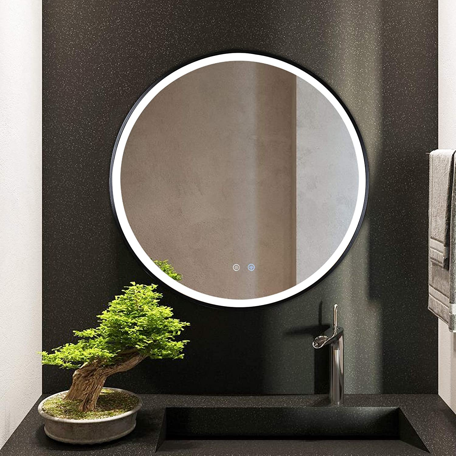 Buy 32inch Led Bathroom Mirror Modern Wall Mounted Makeup Mirror Round Black Solid Framed Bathroom Mirror Dimmable Vanity Mirror Water Proof Anti Fog 3000k 4000k 6000k 3colour Options By Cctswitch Gasonny Online In Taiwan B08r1s56wp