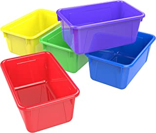 """Storex Small Cubby Bin, Plastic Storage Container Fits Classroom Cubbies, 12.2"""" x 7.8"""" x 1"""", Assorted Colors (Red, Yellow,..."""