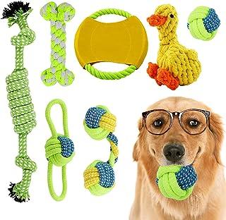 Hyselene Hundespielzeug Set,7 Stück Hundespielzeug Unzerstörbar,Welpenspielzeug,Hundezubehör,Baumwolle Hundetau Kauspielzeug Mit Hundeball Hundefrisbee,Für Kleine Und Mittlere Hunde Zahnreinigung