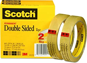 Scotch Double Sided Tape, Engineered for Office and Home Use, 3/4 x 1296 Inches, 3 Inch Core, Boxed, 2 Rolls (665-2P34-36)