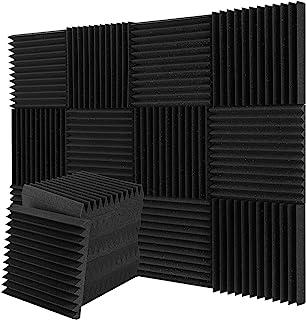 12-pack akustiska skumpaneler, ljudisolerande studioskum, kilplattor, brandsäkra, idealiska för ljudisolering i hem och st...