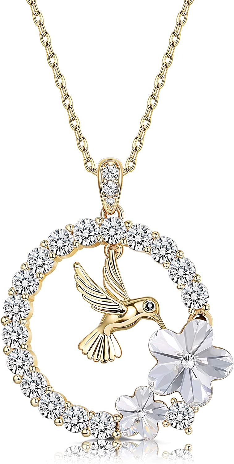 Sllaiss 18K Gold Plated Hummingbird Pendant Necklace for Women Circle Necklace, Animal...