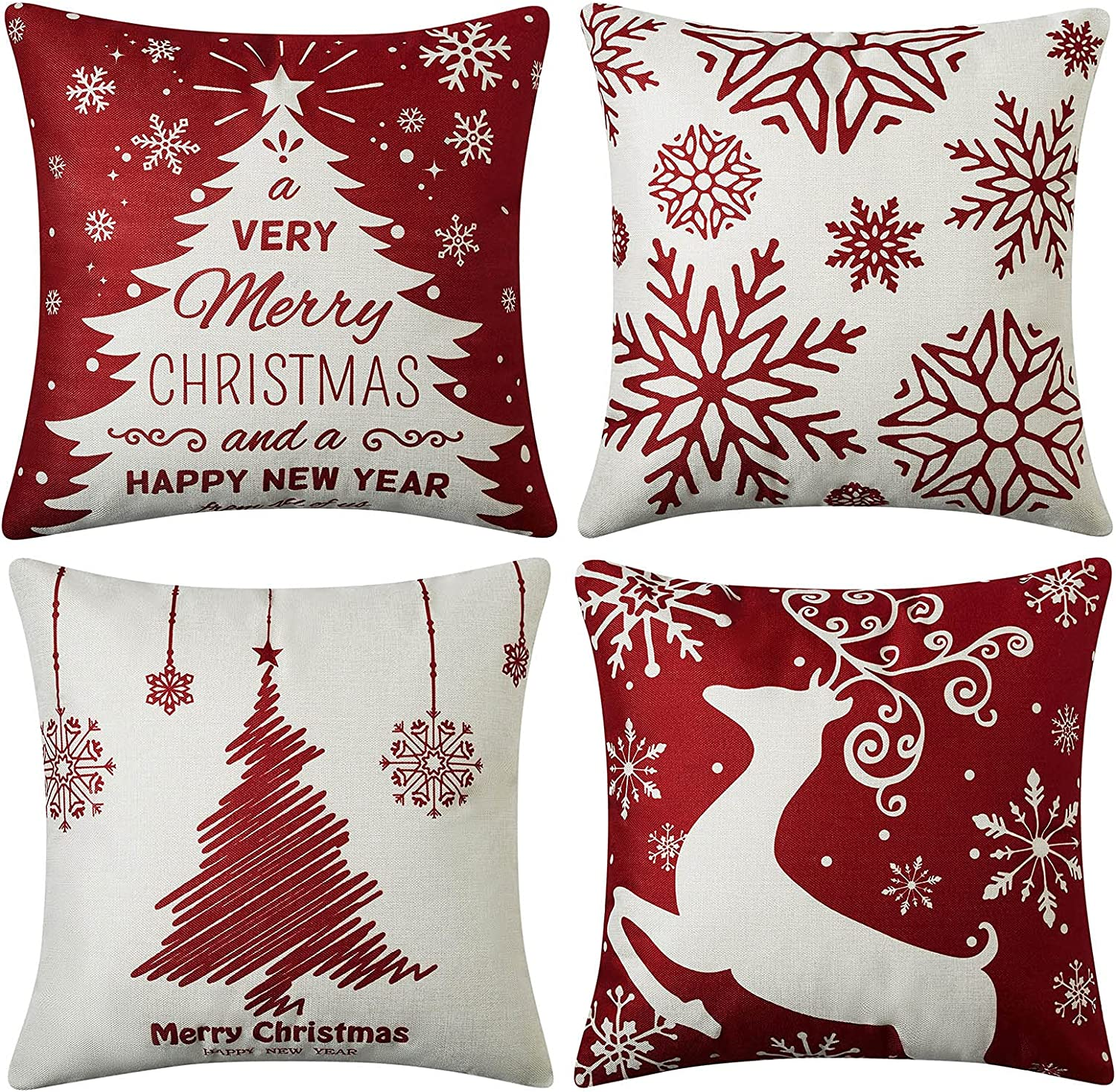 CAROMIO Christmas Decorations Pillow Covers 18x18 Set of 4,Farmhouse Christmas Decor for Home,Tree Deer Snowflakes Rustic Xmas Pillow Case Winter Holiday Decorations Throw Cushion Case for Home Couch