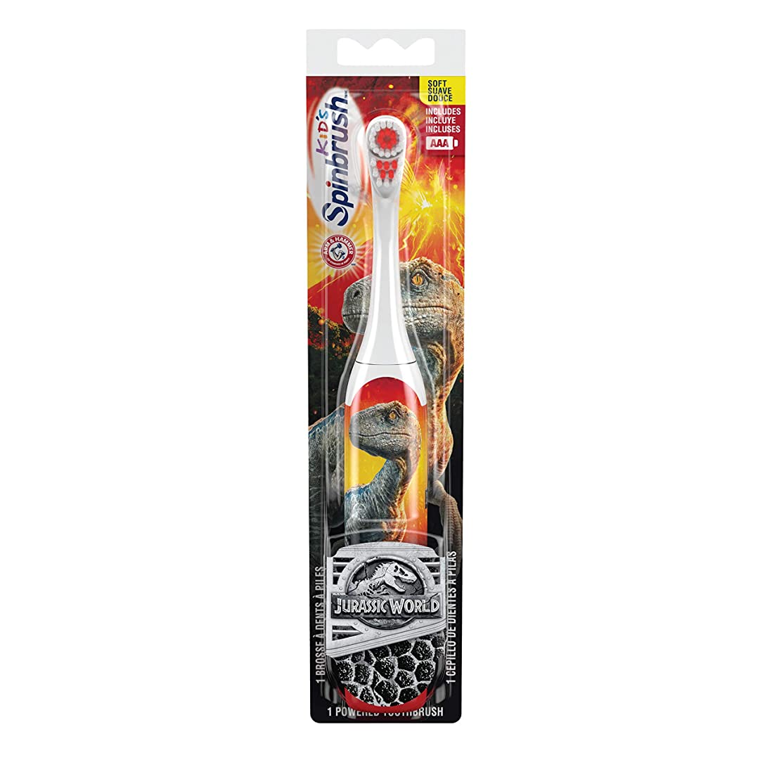 移行する属性メンテナンス海外直送品 お子様用ジェラシックワールド電動歯ブラシ 〈ソフト〉 ARM & HAMMER? Spinbrush? Jurrassic World 1 Powerd Thoothblash Soft