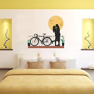 Sehaz Artworks 'Moon Couple Bicycle' Wall Sticker (Vinyl, 30 cm x 3 cm x 3 cm)