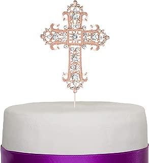 Ella Celebration Cross Cake Topper, Rose Gold Religious, Wedding, First Communion, Baptism, Christening, Church Dedication Keepsake Decoration (Rose Gold)
