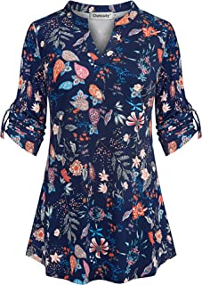 Womens V Neck Casual Flowy Blouses Shirts 3/4 Sleeve Floral Tunic Tops