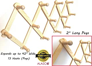 1 ALAZCO Accordion Style Wood Expandable Wall Rack 13 Hooks (Pegs) For Hat, Cap, Belt, Umbrella Coffee Mug Jewelry Hanging - 2