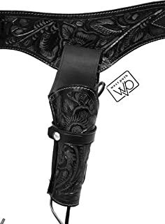44 / 45 Caliber Western Leather Gun Holster - with Belt & Ammo Holder Loops, or as Cross Draw Holster without Belt - Cowboy Style Single Drop Rig Standard Barrel - Authentic Handmade Hand Tooled