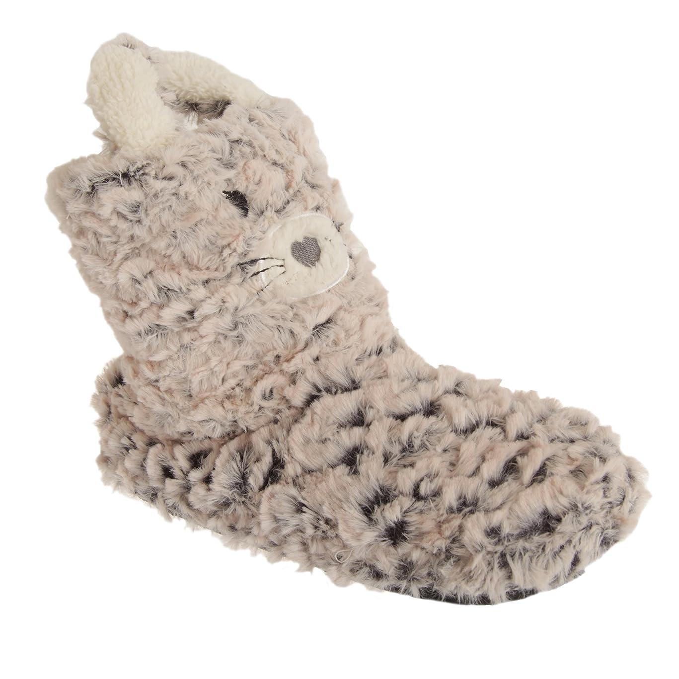 間接的眩惑する湿気の多い[Universal Textiles] レディース猫デザイン ブーツスリッパ 婦人スリッパ 室内履き ルームシューズ 女性用 (7/8 UK) (ホワイトノーズ)