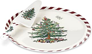 Spode Christmas Tree Peppermint Cake Plate and Server, 11-Inch