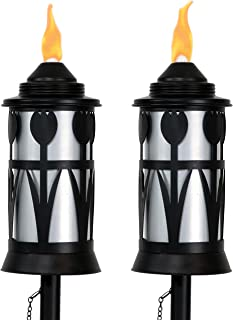 Sunnydaze Metal Outdoor Torch Jar with Tulip Design, Steel Patio Citronella Torches, Includes Snuffer, 22- to 64-Inch Adjustable Height, Set of 2, Black/Silver
