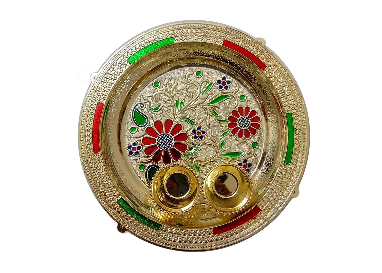 Designer Art Pooja Thali/Puja Thali, Pooja Thali Decorative Platter Set for Karwachauth Puja/Pooja Diwali/Deepawali Laxmi,Durga,Ganesh Pooja for Hindu Puja (Thali 9)