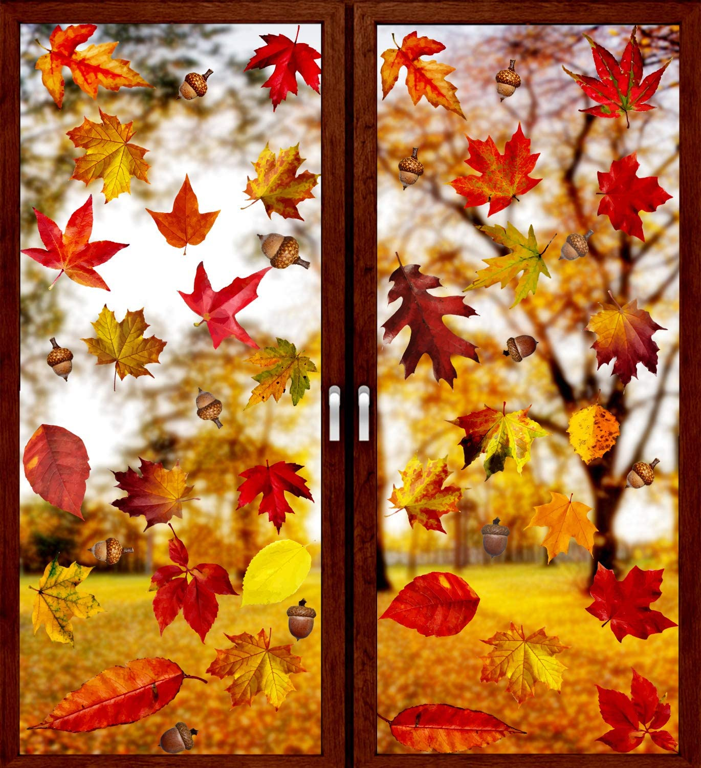 Limited Special Price VEYLIN 6 Sheets free shipping 250Pcs Thanksgiving Maple Clings Autumn Window