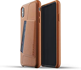 Mujjo Full Leather Wallet Case for iPhone Xs Max | Premium Genuine Leather, Natural Aging Effect | Pocket for 2-3 Cards, Wireless Charging (Tan)