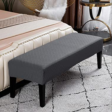 Perfk Velvet Spandex Bench Covers for Dining Room, Stretch Bench Slipcover, Removable Washable Bench Protector for Living Roo
