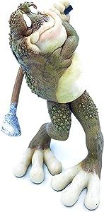 C&F Garden Decor Outdoor Polyresin Golfer Frog Statue G184 7.25