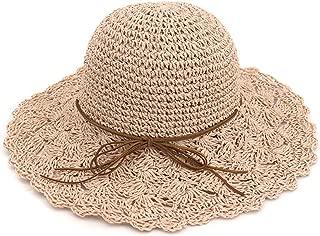 ylovego New Hand-Woven Crochet Women Straw Sun Hats Folding Lady Beach Hat Wide Brim Sunhat Breathable Spring Summer