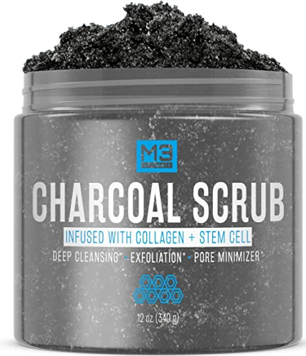 M3 Naturals Activated Charcoal Scrub Infused with Collagen and Stem Cell - Natural Exfoliating Body and Face Polish f...