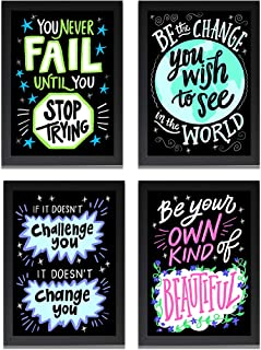 Art Gifts Solutions Motivational Quotes Wall Art Framed Posters for Bedroom Office and Student
