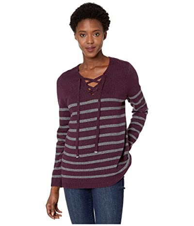Calvin Klein Striped Lace-Up Sweater (Aubergine/Charcoal) Women