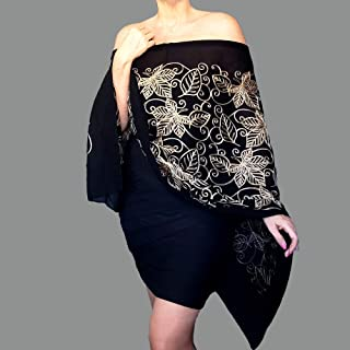 Black Shawl Metallic Gold Evening Wrap Floral Embroidered Scarf By ZiiCi