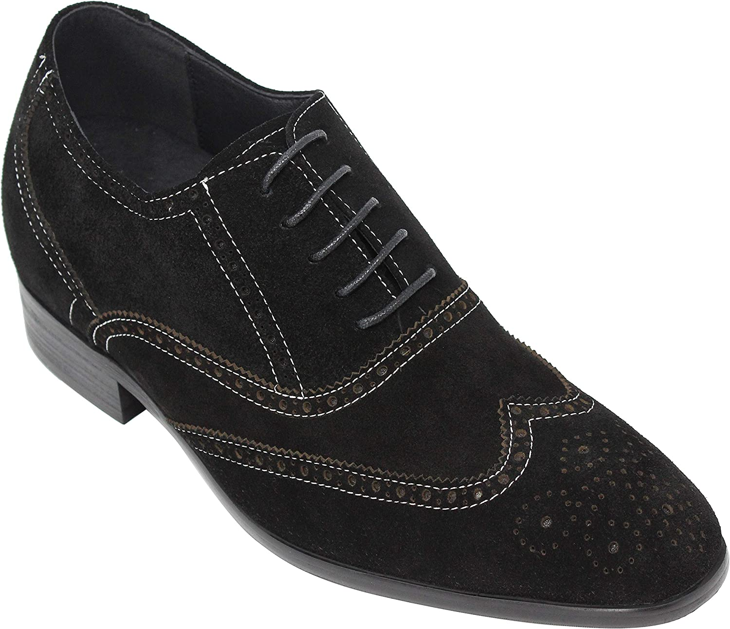CALTO Men's Invisible Height Increasing Elevator shoes - Black Suede Leather Lace-up Wing-tip Formal Oxfords - Y40011-3.2 Inches Taller