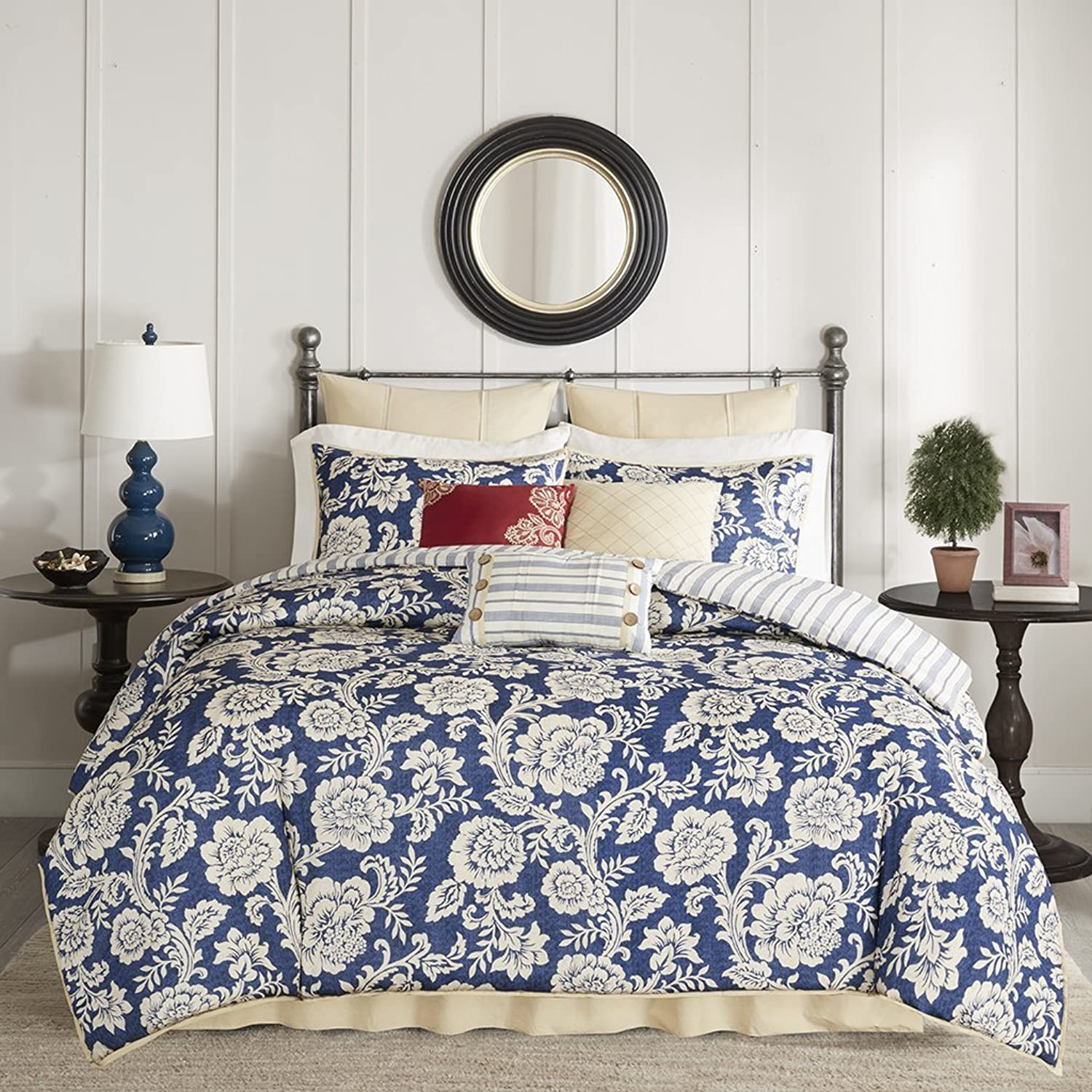 Madison Park Lucy Duvet Cover King Size - Navy, Ivory, Reversible Floral, Stripes Duvet Cover Set – 9 Piece – Cotton Twill, Cotton Poly Blend Reverse Light Weight Bed Comforter Covers