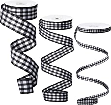100 Yards Black and White Buffalo Plaid Ribbon 3 Size Buffalo Checkered Plaid Ribbons Wide Gingham Ribbon for Floral, Craf...