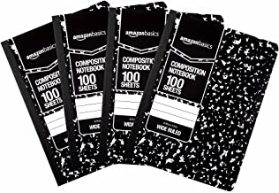AmazonBasics Wide Ruled Composition Notebook, 100 Sheet, Marble Black, 4-Pack