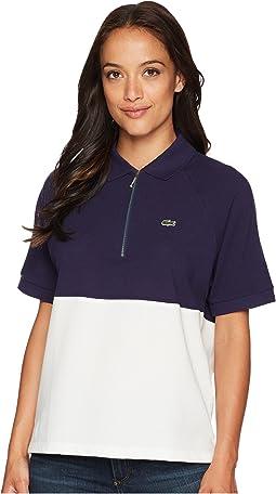 Short Sleeve Supple Petit Pique Color Block Polo