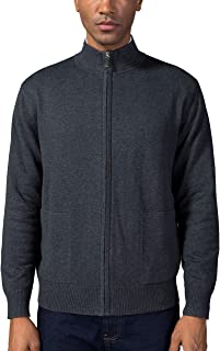 Kallspin Men's Cotton Blend Full Zip Cardigan Sweaters Relaxed Fit Outwear with Pockets