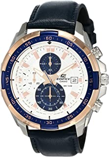 Casio Edifice Men's White Dial Leather Chronograph Watch - EFR-539L-7CV