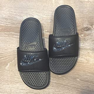 eafe8f69fff Bling NIKE SLIDES with Swarovski Crystals ALL BLACK Women s NIKE Benassi  JDI Slides Custom Bedazzled Slip