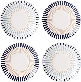 KATE SPADE Brook Lane 4-Piece Tidbit Plate Set, 1.75 LB, Blue
