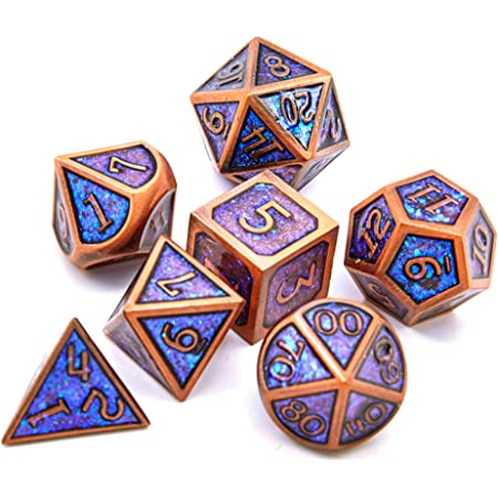 DHWGBP DNDWoW Metal Dice Set Blue Purple Color Changing DND Dice Pathfinder 7 Die RPG Dice Set in Magic Gold Number for Dungeons and Dragons