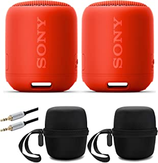 Sony SRS-XB12/R Extra Bass Portable Bluetooth Speaker (Red) Stereo Pair Bundle (2 Speakers, Left/Right Channel) with Travel Cases and 10ft Mobile AUX Cable Bundle