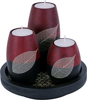 Baimai Tea Light Candle Holder Set of 3 with Real Leaf Decorative Candle Holders, Wood Tray