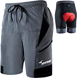 Sportneer Mountain Bike Shorts for Men MTB Shorts Cycling Shorts Mens Cycle Shorts Lightweight and Baggy with Zipper Pocke...