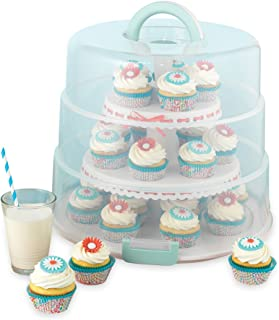 Sweet Creations 3 Tier, Collapsible Cupcake and Cakepop Display Carrier with Handel, White