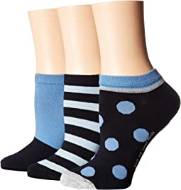 Stripe 3-Pack No Show Socks