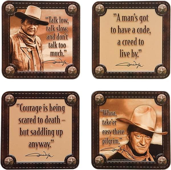 Vandor 15085 John Wayne 4 Pc Wood Coaster Set Brown