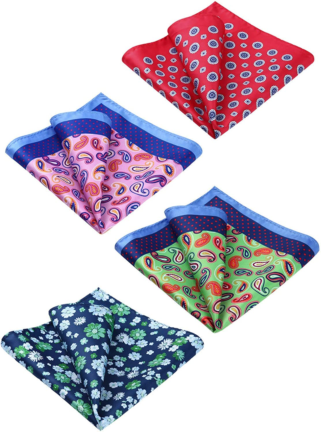 HISDERN 4 Pieces Pocket Square for men Paisley Floral Printed Handkerchief Set Assorted Woven Hanky Wedding Party Gift