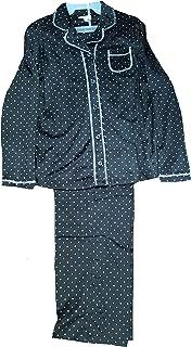 Black Soot Diamond 2 Piece Notch Collar Long Sleeve Pajama Sleep Set